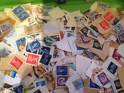 Large lot GB used KILOWARE on and off paper with Higher values and better stamps