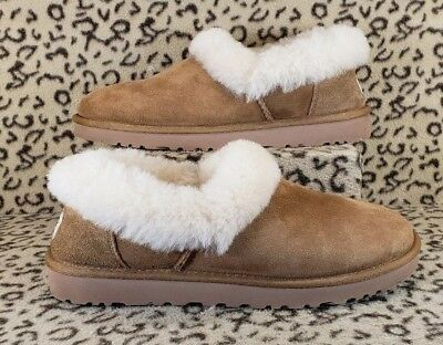 518a44a9aa1 UGG AUSTRALIA NITA Womans Slip On Slippers Size 9 Lined Chestnut Leather  1011894