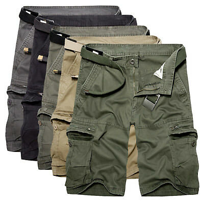 Mens Cargo Cotton Summer Army Combat Work Shorts Pants Cropped Trousers SZ 30 40