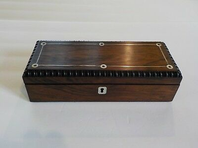 19th C. Carved Rosewood Glove Box, Silver & Mother-of-Pearl Trim