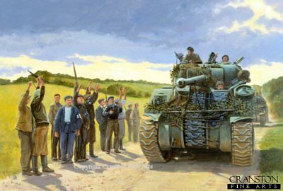 WW2 MILITARY ART Print Sherman Firefly tank french resistance normandy D Day