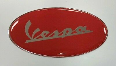 VESPA Red Sticker/Decal 75mm OVAL - HIGH GLOSS DOMED GEL - SCOOTER - MOPED