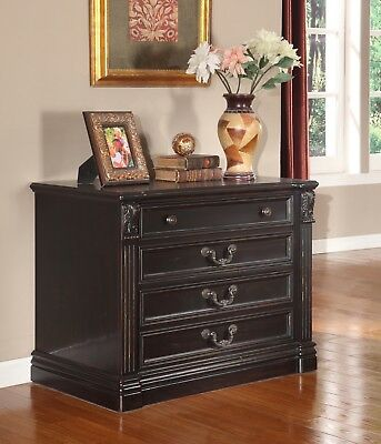 Grand Manor Palazzo Traditional Lateral File Cabinet in Vintage Burnished Black