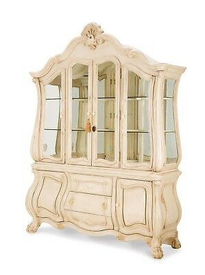 Chateau De Lago French Regency 4-Door China Cabinet In Carved Blanc Wood