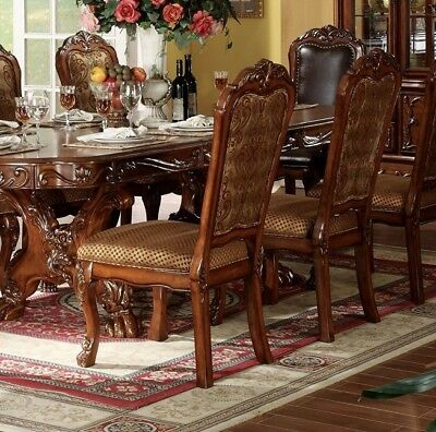 Set of 2, Dresden Ornate Antique Style Beige Side Chair In Cherry Oak, Brown,Red