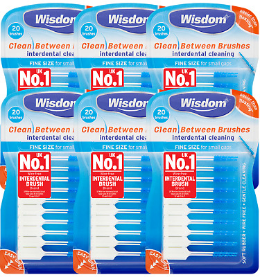 6 x Wisdom Clean Between Interdental Brushes - pack of 20 - size FINE BLUE