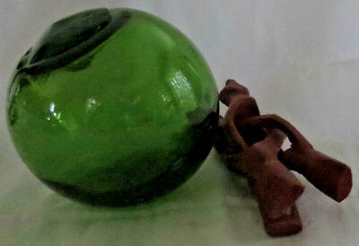 """Japanese Blown Glass Float Beautiful EMERALD GREEN 4"""" ANTIQUE Relic + Med. Stand"""