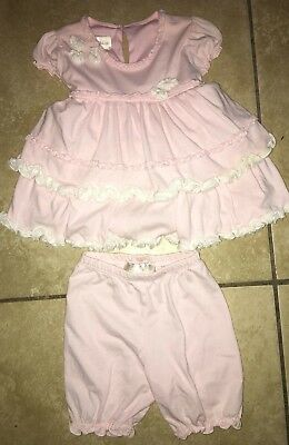 Baby Girls Gorgeous Size 18 Months Two Piece Outfit Light Pink White Ruffles Isa