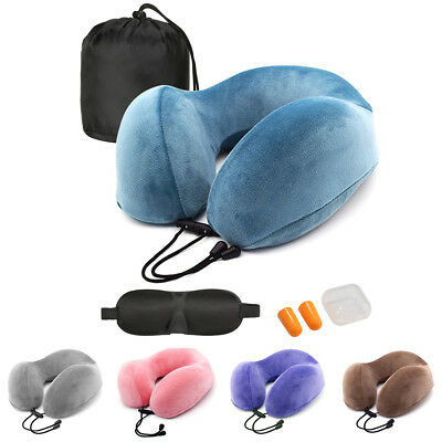 Memory Foam Travel Neck Support Pillow Car Airplane Soft Cushion Storage Pouch
