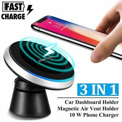 Qi Wireless Car Charger Magnetic Air Vent Mount Holder For iPhone X 8 Samsung S9
