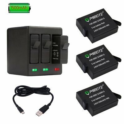 GoPro Hero 7 Black (2018) 3 x Replacement Battery 1500mAh And 3-Channel Charger