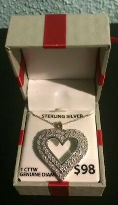 1 CTTW Sterling Silver Diamond Heart Pendant With Sterling Silver Chain
