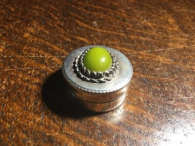 Natural GREEN Amber Set SILVER Pill Box - Antique