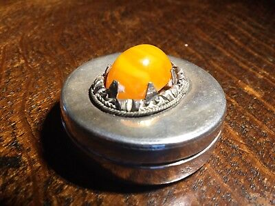 Natural Amber Set SILVER Pill Box - Antique