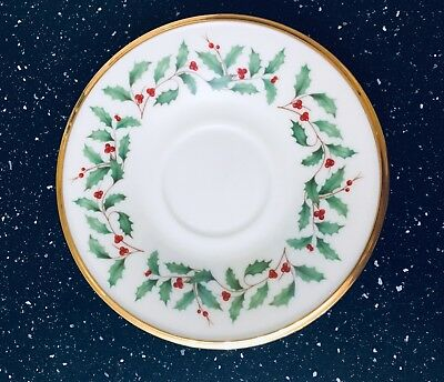 Lenox Dimensions Col. HOLIDAY Holly Berries Gold Trim Saucer Only (for Tea Cups)