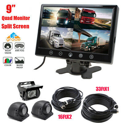 "9"" HD Quad Split Screen Monitor+4PIN CCD Backup Rear+Side View Camera Truck VAN"