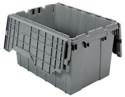 Akro-Mils 39120 Plastic Storage and Distribution Container Tote with Hinged Lid,