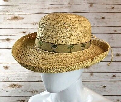 18ac275338bb7 The Scala Collection Womens Straw Sun Hat Natural Fiber Palm Tree Ribbon