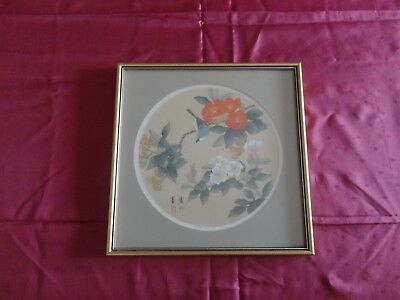 Vintage Oriental Japanese Silk Cloth ? Picture Birds Flowers Framed signed