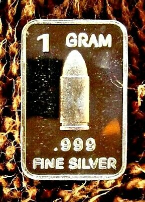 One Gram Pure Fine .999 Silver Bullion Bullet