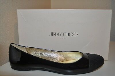 5e3f6c022a5c NIB Jimmy Choo WHIRL Glitter Cap Toe BLACK Patent Leather Ballet Flat Shoe  10.5
