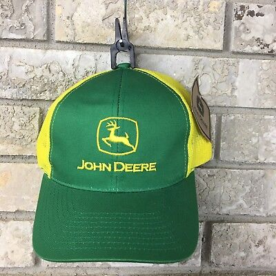 30a1e1556914d3 NWT John Deere Trucker Hat Snapback Cap Tractor Rancher Yellow Green  Embroidered