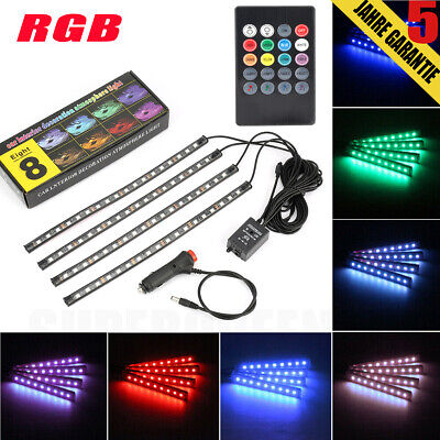 4er RGB LED Ambientebeleuchtung Innenraumbeleuchtung Fußraumbeleuchtung DC12V
