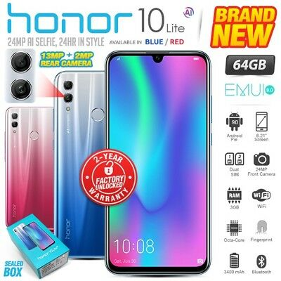 New & Sealed Factory Unlocked HONOR 10 Lite Blue Red 64GB Android Smartphone