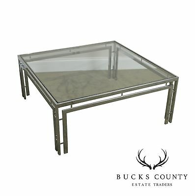 Chrome Glass Mid Century Modern Square Coffee Table 495 00
