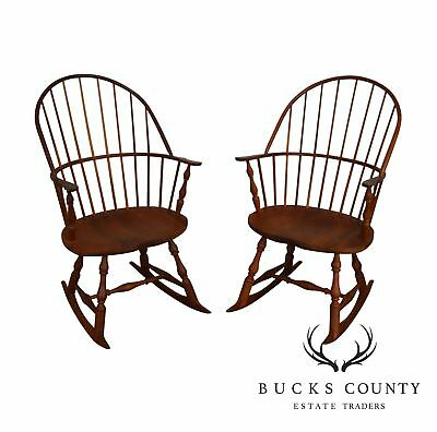 Martins Chair Shop Inc Bench Made Solid Cherry Sackback Pair Windsor Rockers (C)