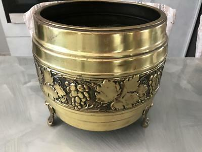 Vintage Retro Art Deco ? Halah Ware Brass Pot Hall Planter Grape Vine Motiff