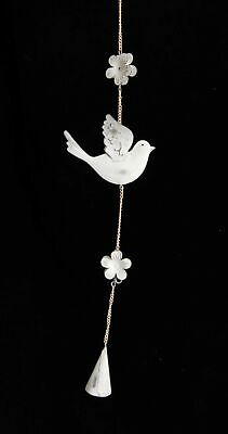 Small White Dove and Flower Petal Wind Chime MISSING HANGING HOOK
