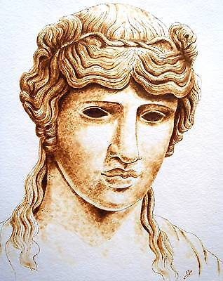 Original Pyrography/woodburning On Watercolor Paper-Roman/greek God Apollo