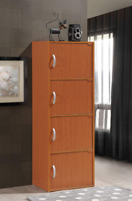 Tall Storage Cabinet 4 Separate Cupboards Cherry Wood