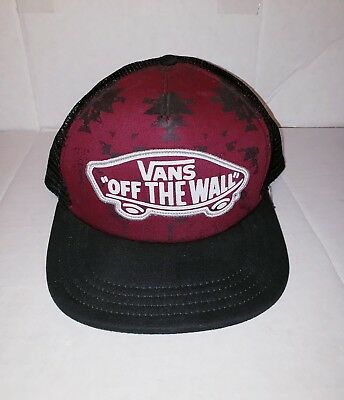 a32ecbee Vans Off The Wall Classic Patch Mesh Snapback Trucker Hat Cap Maroon Black