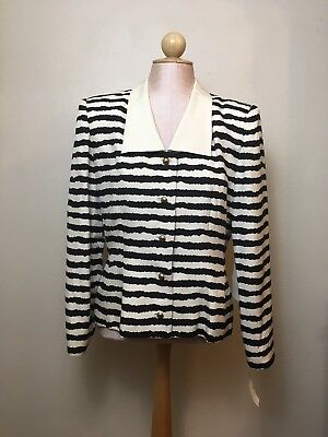 Vintage Saks Fifth Avenue Womens Size 10 Silk Blouse Black Ivory Striped NWT