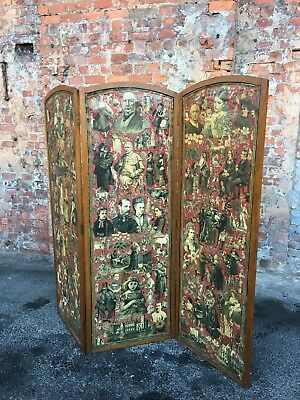 Antique Victorian Folding 3-Way Screen / Room Divider - Decoupage Screen