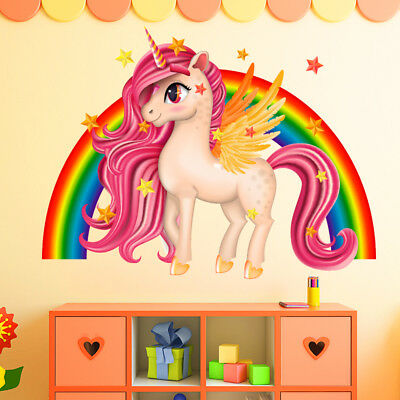 Unicorn Wall Stickers Rainbow Wall Art Kids Girls Bedroom Stars Nursary Decal