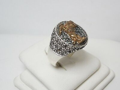 Mens Sterling Silver Cowboy Ring With Colored Diamonds