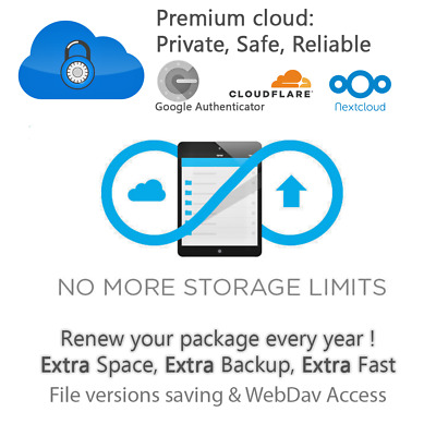 UNLIMITED Premium Cloud storage EXTRA Package - Annual payment - Private Account