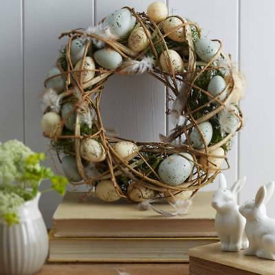 Natural Egg Easter Wreath with speckled eggs and feathers 26cm Gisela Graham