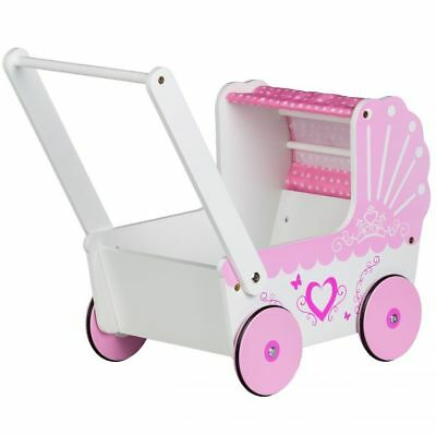 New Kids Wooden Traditional Girl Dolls Pram and Push Walker 2in1 perfect gift