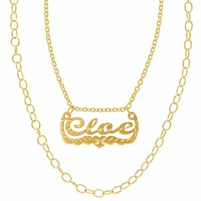 Personalized Silver and Gold Script Double Chain Name Plate Necklace Celebrity
