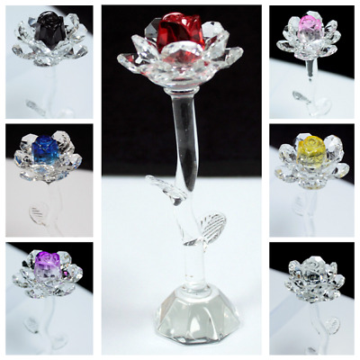 Beautiful Crystal Rose Flower In Gift Box For Her Valentines Anniversary Wedding