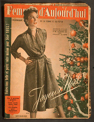 'femmes D'auourd'hui' French Magazine Pattern Christmas Issue 20 December 1952
