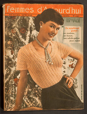 'femmes D'auourd'hui' French Magazine Pattern Christmas Issue 7 December 1950