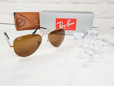 c37beddeb5c Ray-Ban RB3025 001 33 Authentic Gold Aviator Sunglasses 58mm Brown Lens