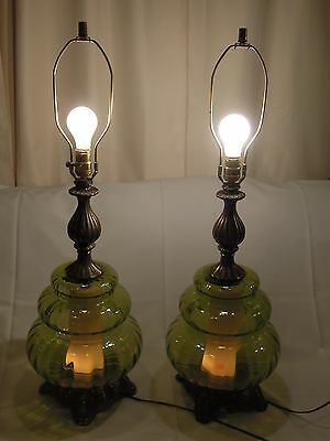 2 Vtg Midcentury Retro 1970 Ef Ef Industries Green Glass Table Lamps
