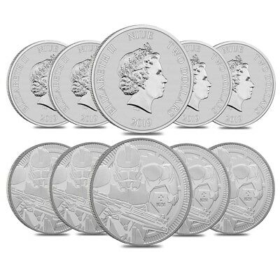 Lot of 10 - 2019 1 oz Niue Silver $2 Star Wars Clone Trooper BU