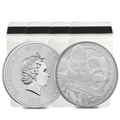 Lot of 100 - 2019 1 oz Niue Silver $2 Star Wars Clone Trooper BU (4 Tube,Lot of